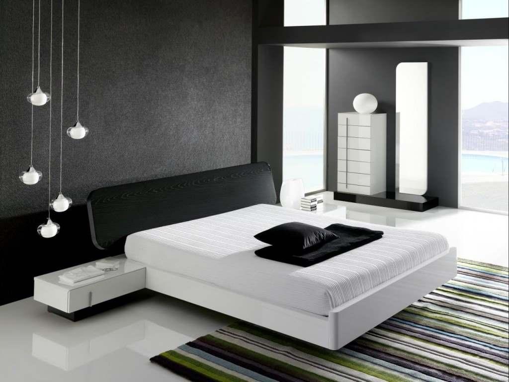 Черное-белая гамма для интерьера спальни
