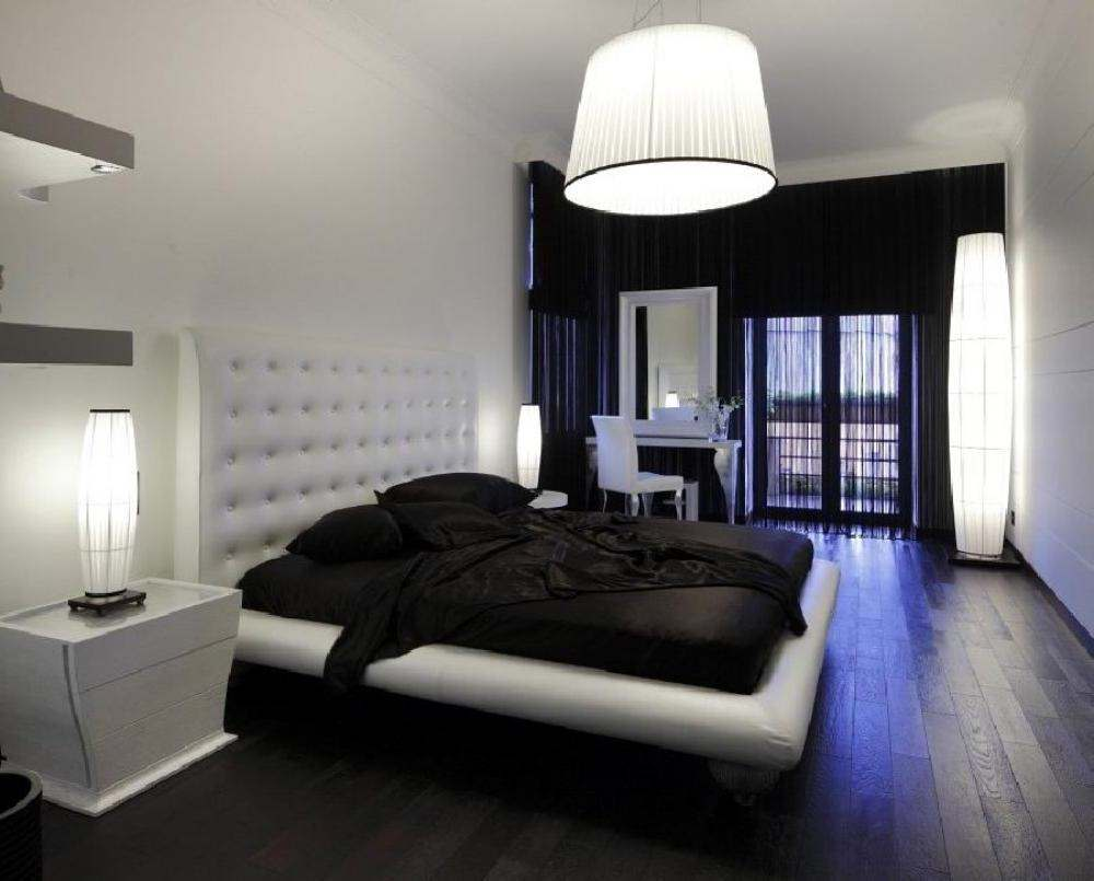 Черное-белая гамма для интерьера спальни3