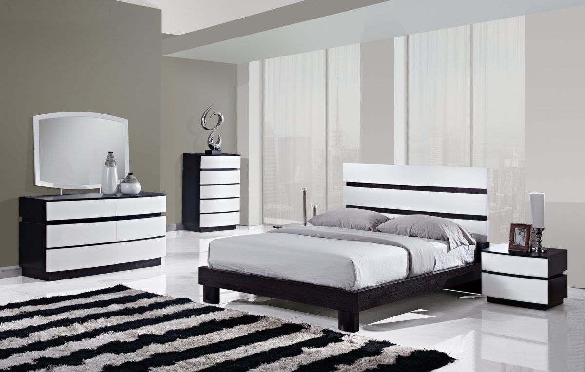 Черное-белая гамма для интерьера спальни4