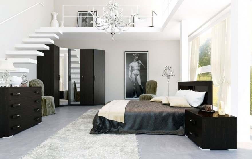 Черное-белая гамма для интерьера спальни6