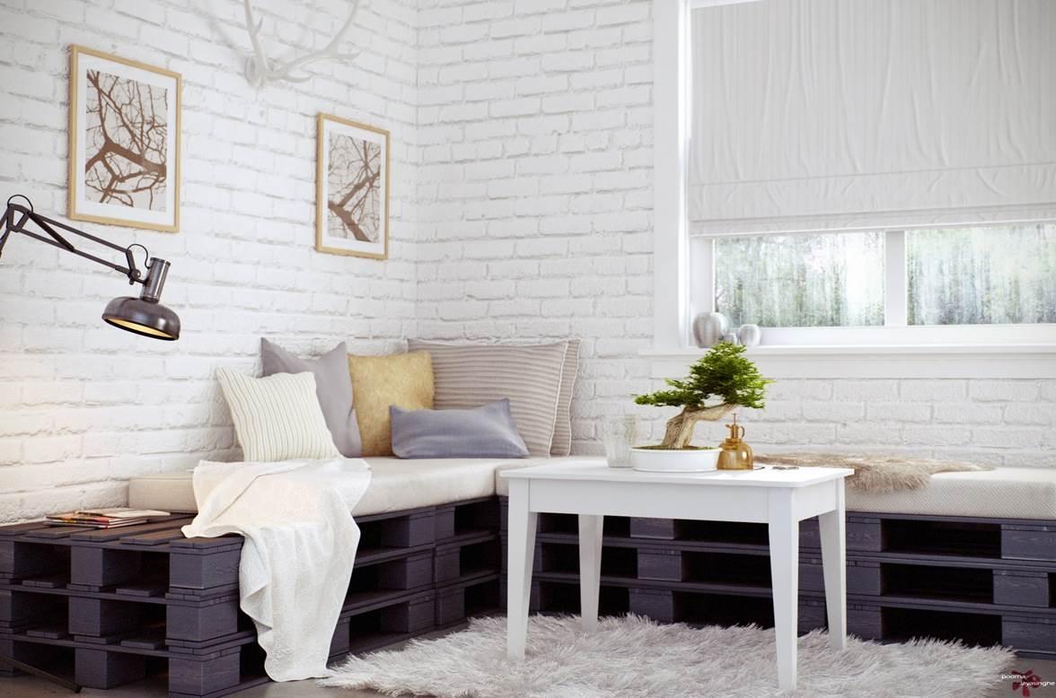 Белая кирпичная стена в интерьере современной квартиры12