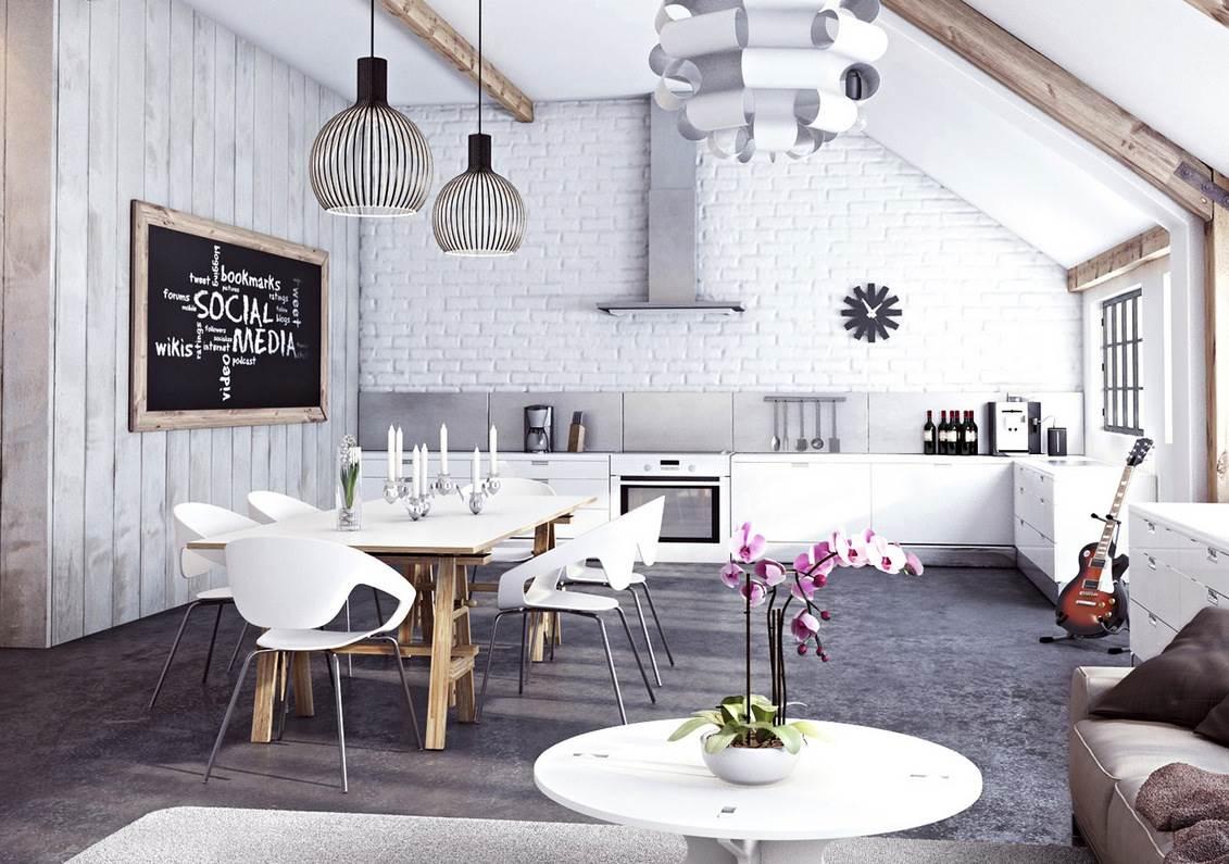Белая кирпичная стена в интерьере современной квартиры14