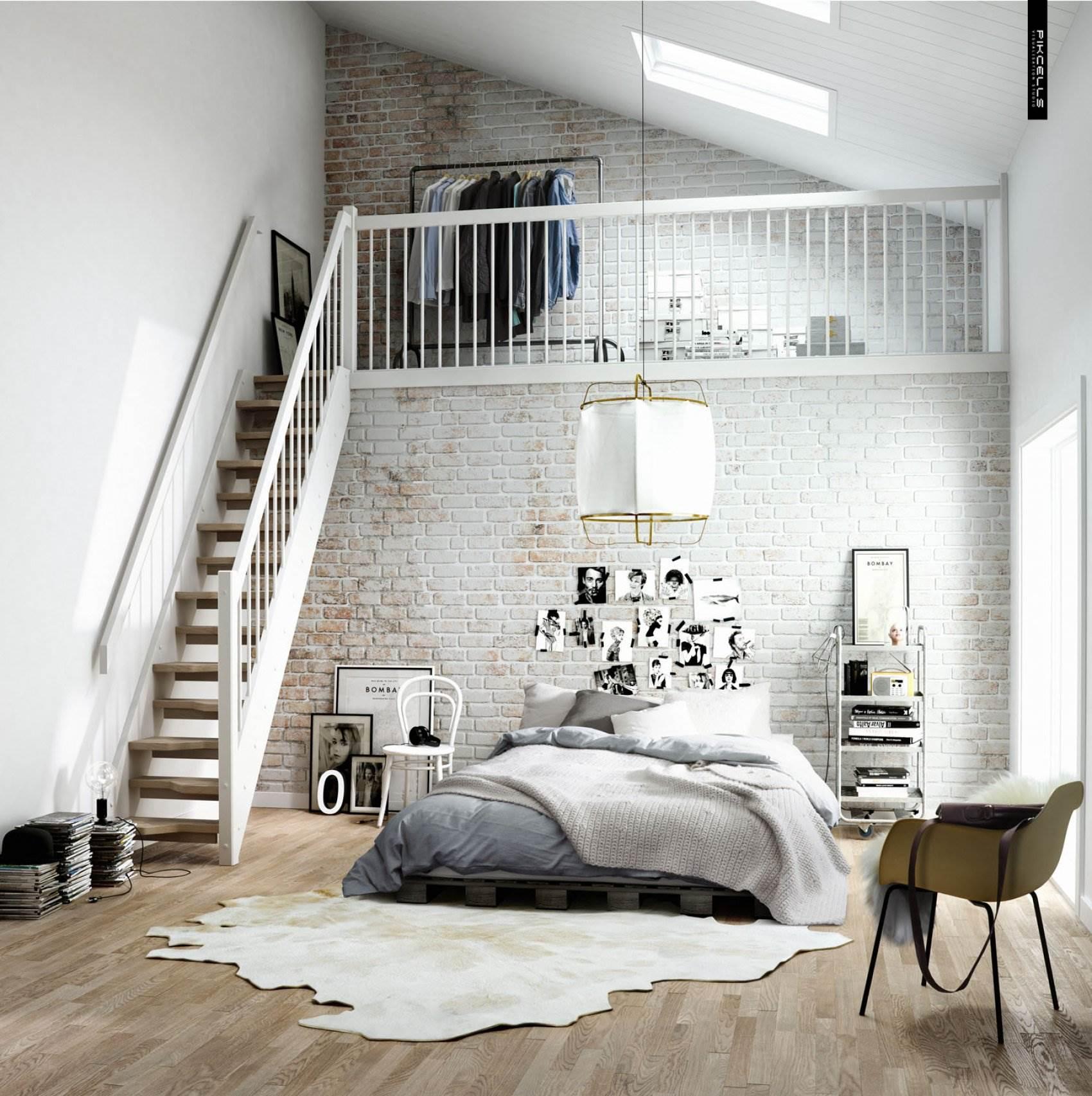 Белая кирпичная стена в современном интерьере2