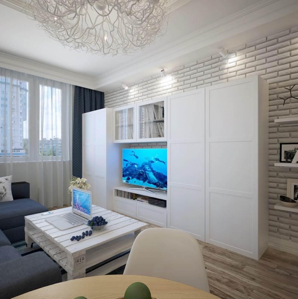Белая кирпичная стена в современном интерьере9