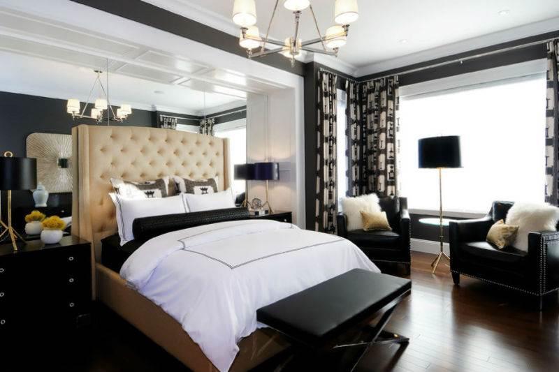 Дизайн спальни в черно-белой гамме12