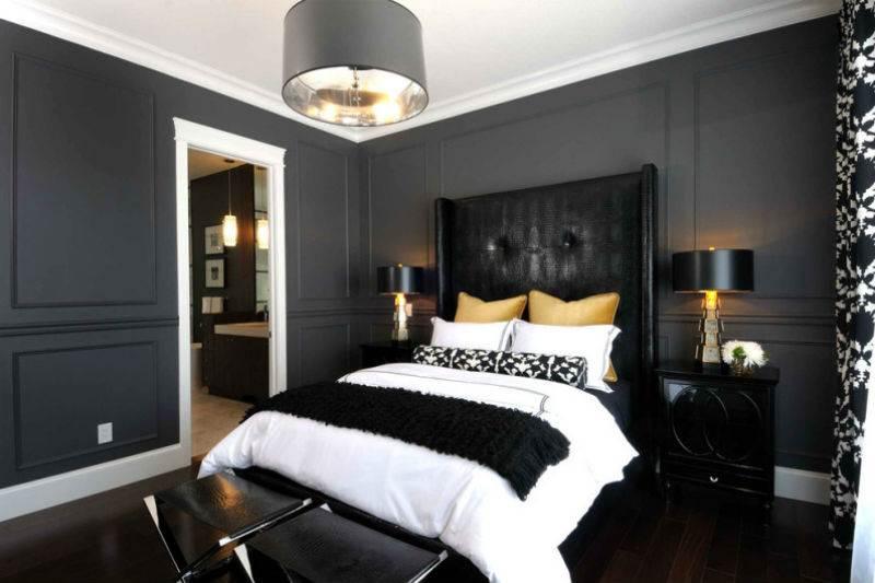 Дизайн спальни в черно-белой гамме13
