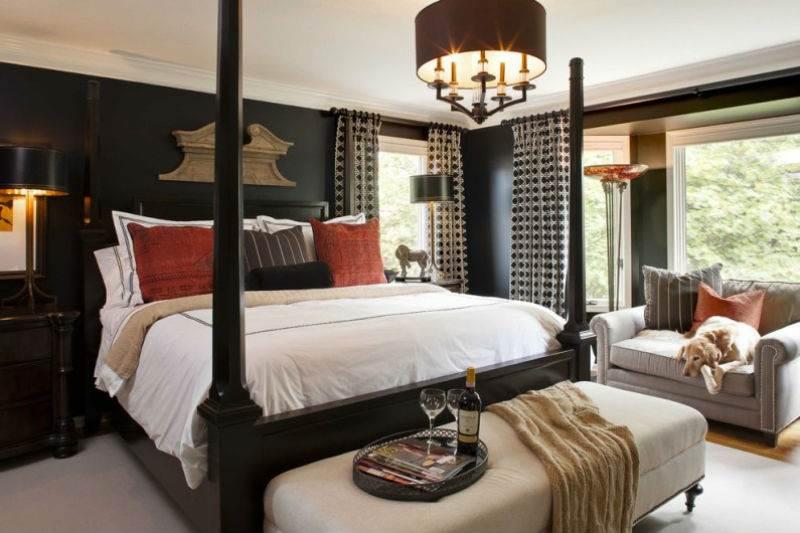 Дизайн спальни в черно-белой гамме4