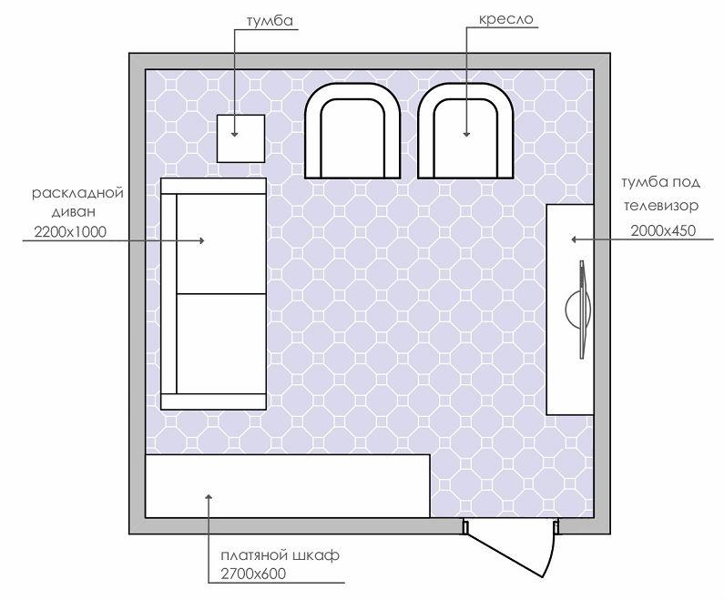 планировки спальни-гостиной площадью 18 кв-657