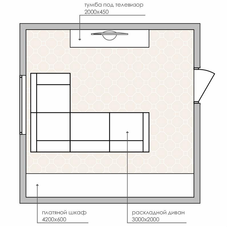 планировки спальни-гостиной площадью 18 кв0