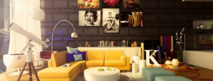 желтый цвет в интерьере гостиной10