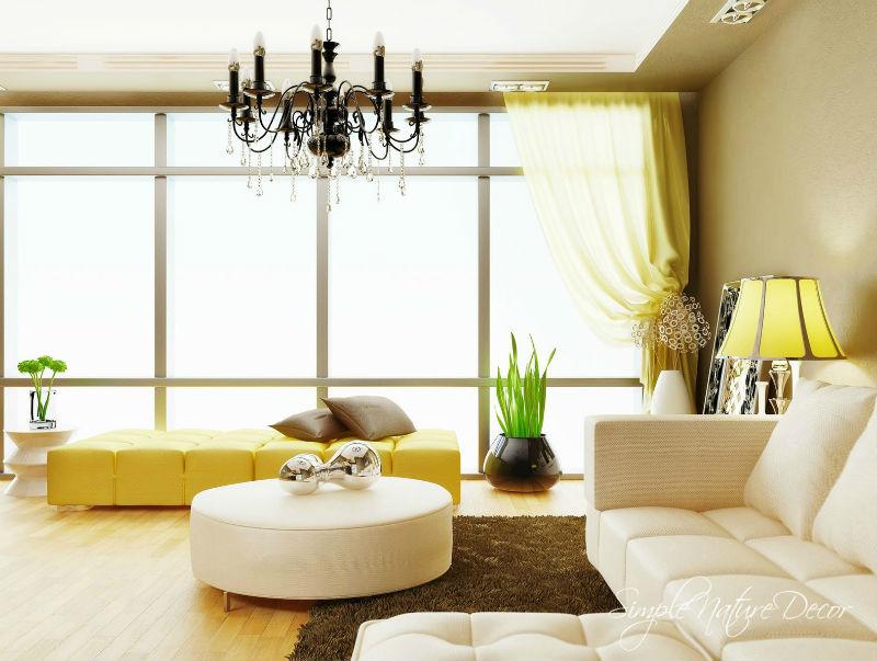 желтый цвет в интерьере гостиной9