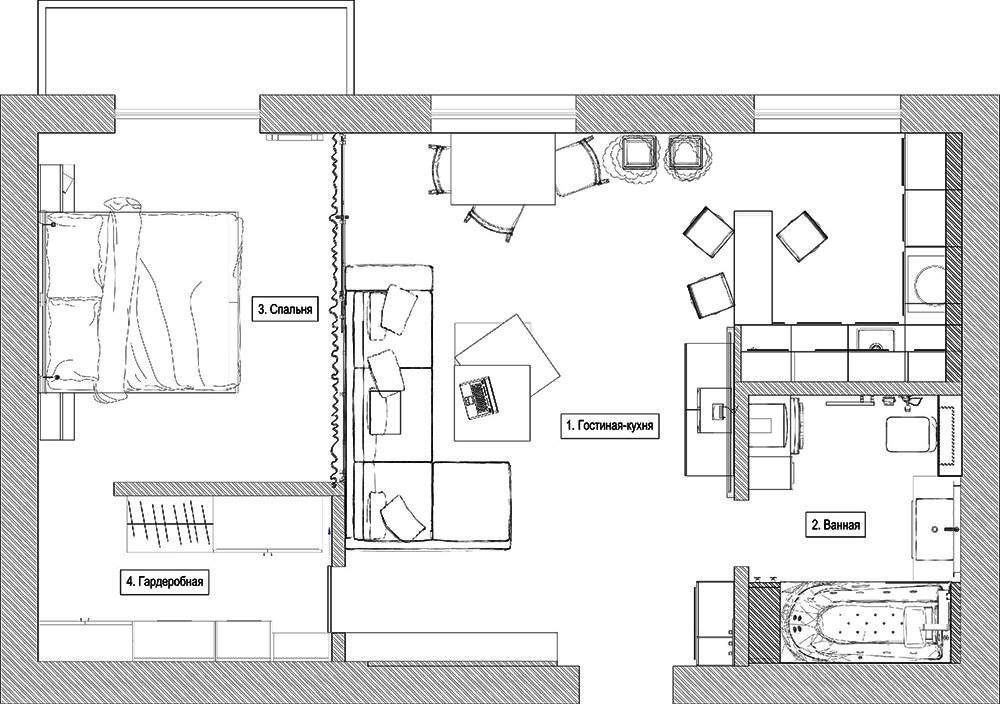 Дизайн интерьера квартиры-студии 47 кв.м (16)
