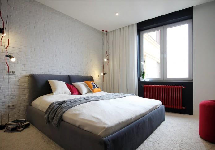 Дизайн квартиры 56 кв.м. в черно-бело-красной гамме (1)