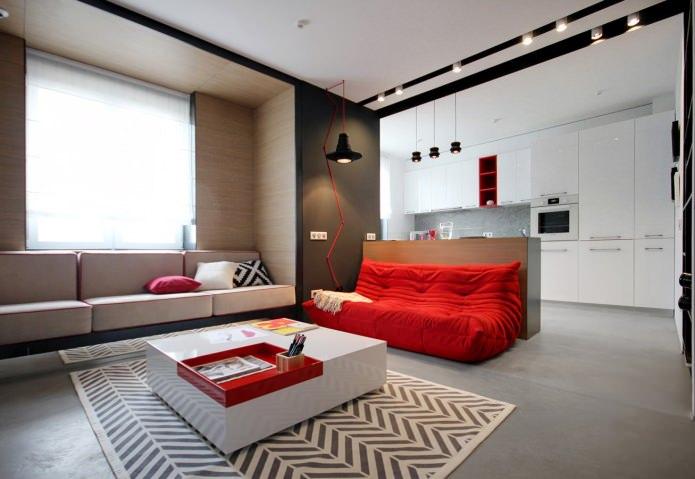 Дизайн квартиры 56 кв.м. в черно-бело-красной гамме (13)