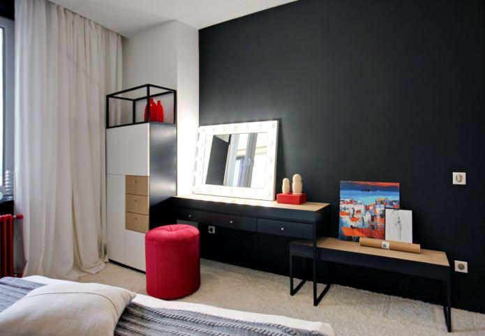 Дизайн квартиры 56 кв.м. в черно-бело-красной гамме (14)
