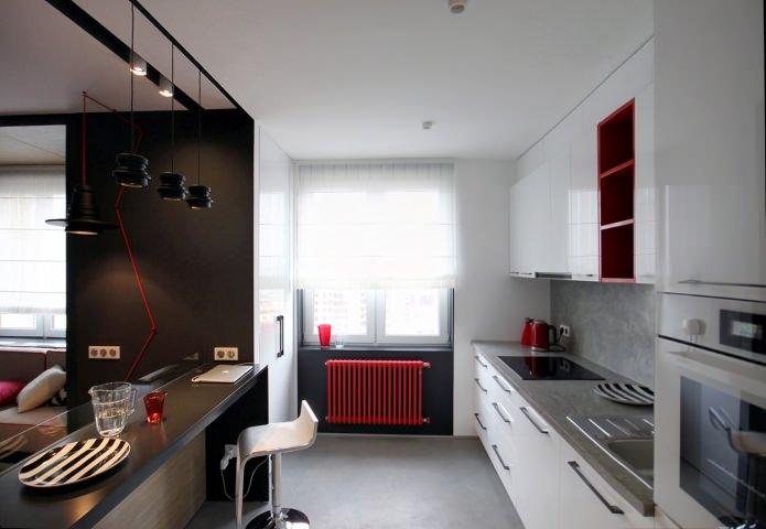 Дизайн квартиры 56 кв.м. в черно-бело-красной гамме (6)