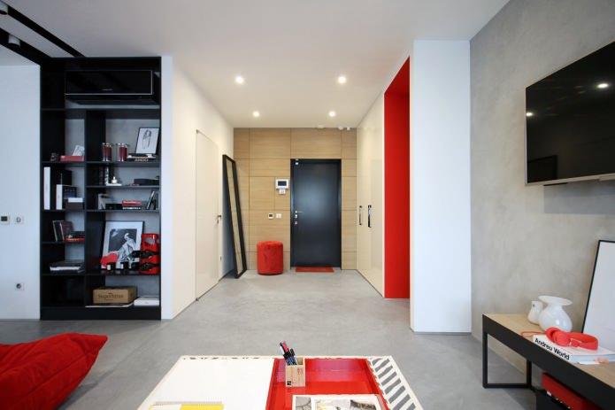 Дизайн квартиры 56 кв.м. в черно-бело-красной гамме (8)