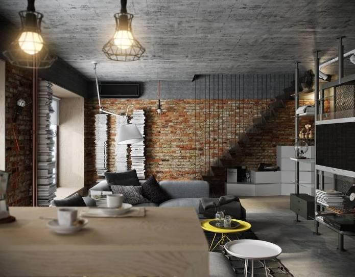 Интерьер современного двухуровневого лофта 110 кв.м. (1)