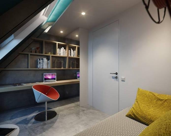 Интерьер современного двухуровневого лофта 110 кв.м. (13)