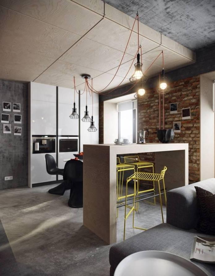 Интерьер современного двухуровневого лофта 110 кв.м. (6)