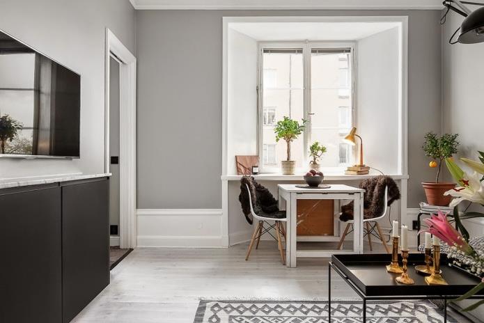 Фото интерьера маленькой однокомнатной квартиры 38 кв.м (10)