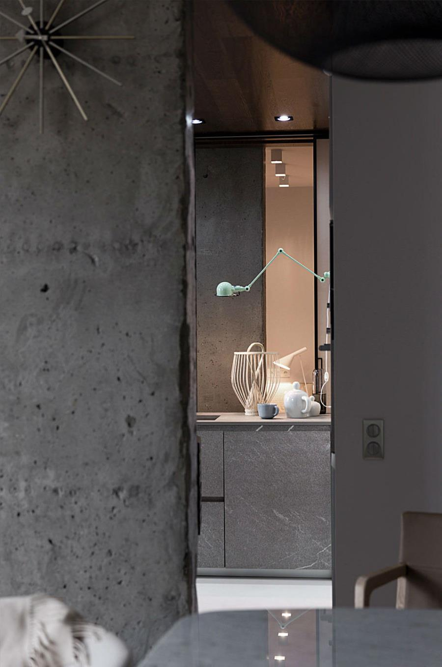 Современный интерьер из бетона, камня и дерева (1)