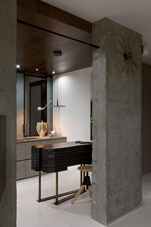 Современный интерьер из бетона, камня и дерева (2)