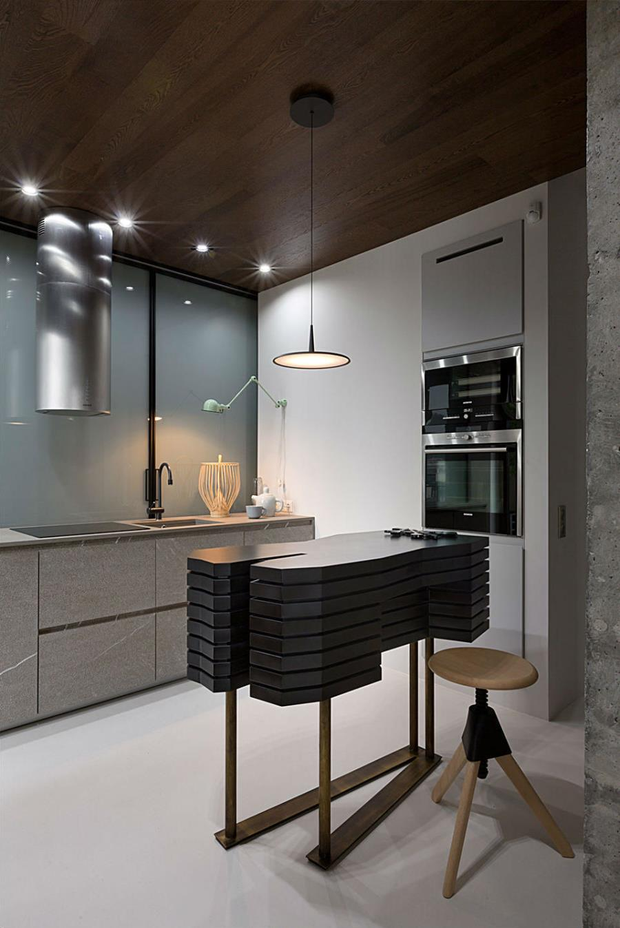 Современный интерьер из бетона, камня и дерева (3)