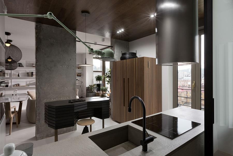 Современный интерьер из бетона, камня и дерева (6)