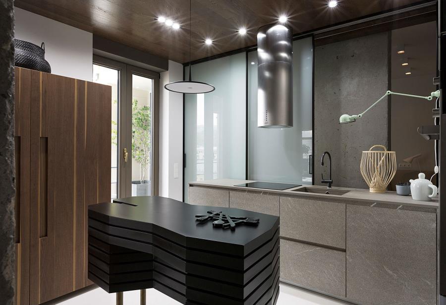 Современный интерьер из бетона, камня и дерева (7)
