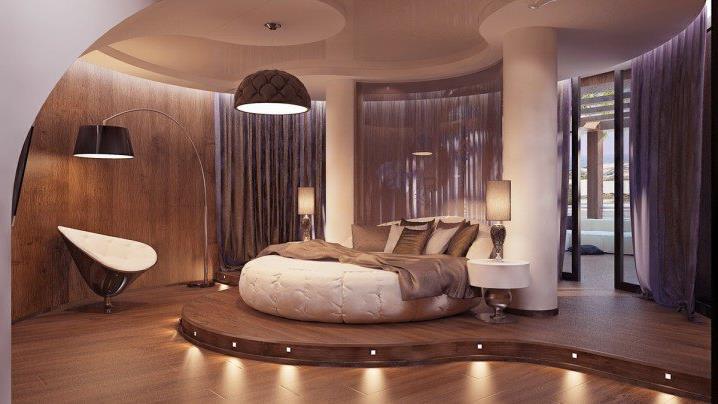 Потрясающий дизайн спальни с круглой кроватью (14)