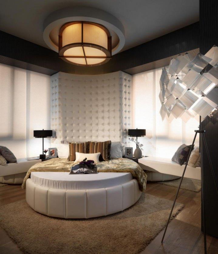 Потрясающий дизайн спальни с круглой кроватью (5)
