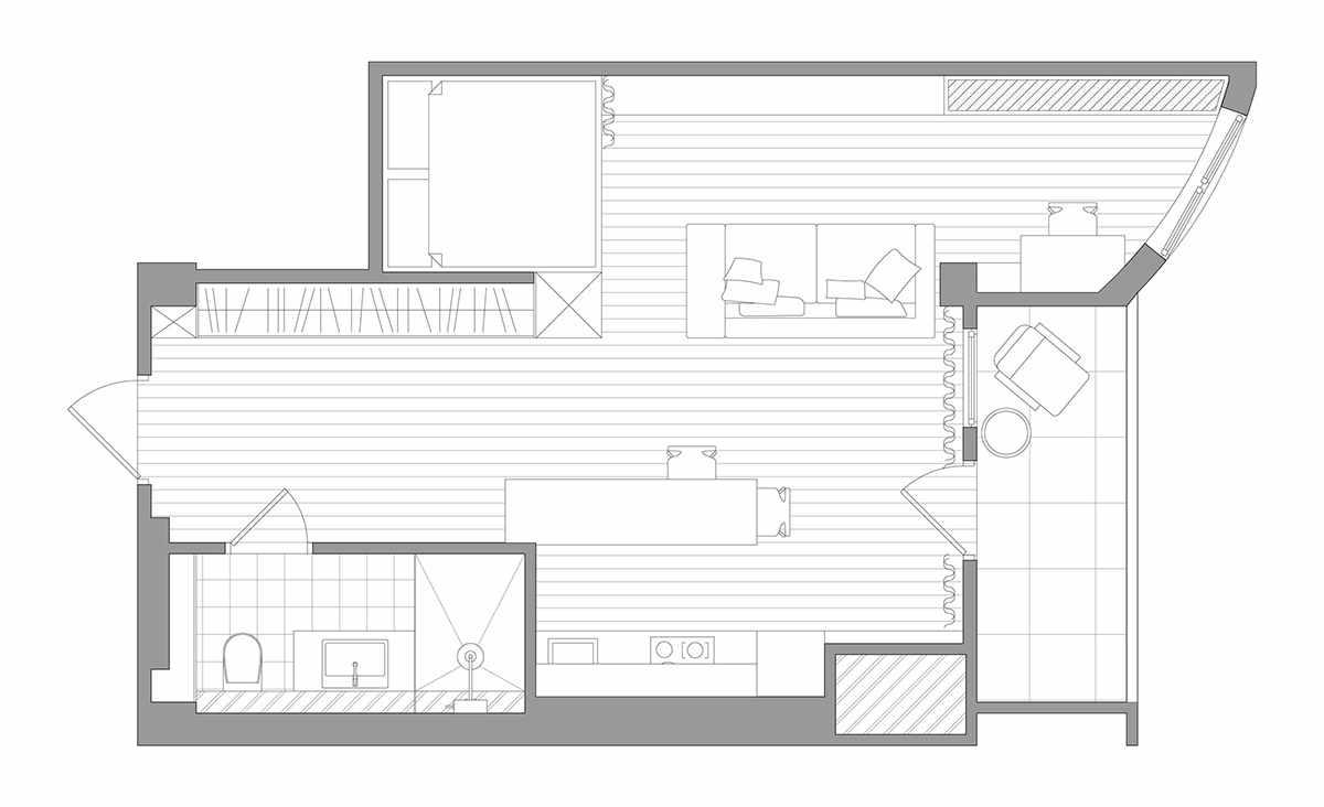 Планировка современной квартиры 43 кв.м (1)