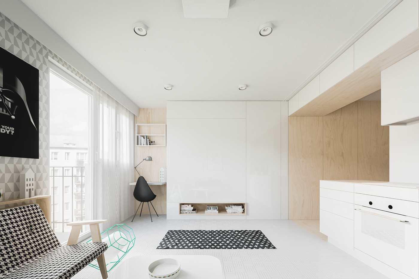 Дизайн студии 20 кв.м современный в теплых тонах