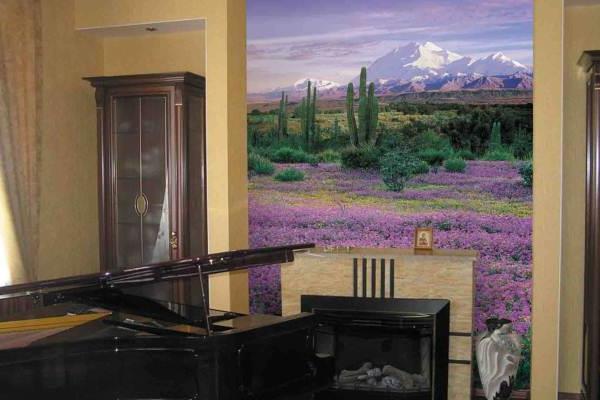 фотообои в интерьере гостиной фото (7)