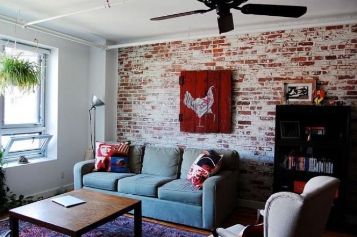 Красная кирпичная стена в интерьере (24)