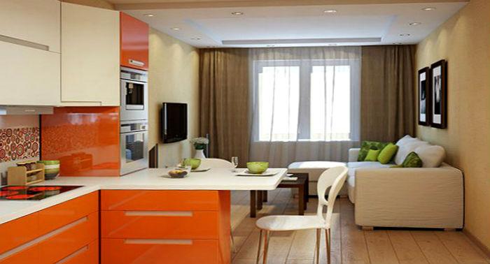 кухня гостиная с телевизором