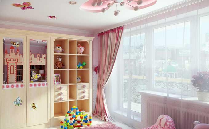 Дизайн-интерьера-детской-комнаты-для-девочки