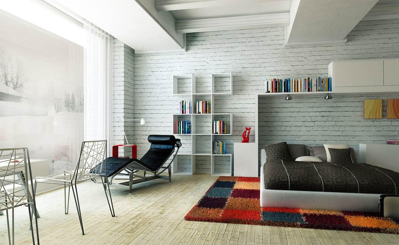 Белая кирпичная стена в интерьере современной квартиры
