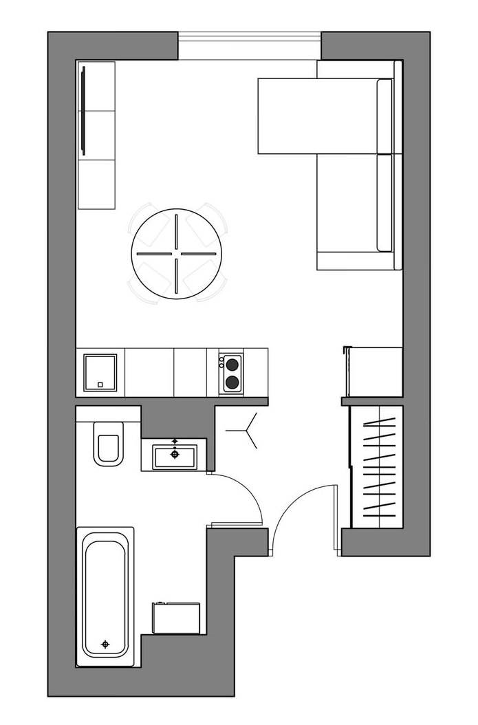 Интерьер маленькой квартиры-студии 24 кв. м. в скандинавском стиле (13)