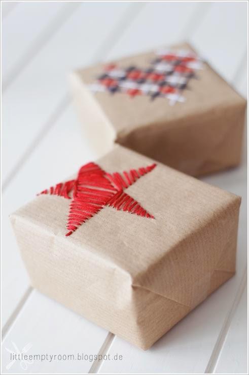 Вышивка на подарочной упаковке